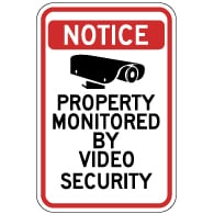 Property Monitored By Video Security Sign - 12X18 - Reflective rust-free heavy-gauge aluminum Security Signs