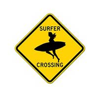 Surfer Girl Road Crossing Warning Sign - 12x12 or 18x18 sizes