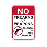 No Firearms Or Weapons Allowed On This Property Sign - 12x18 - Reflective Rust-Free Heavy Gauge Aluminum Security Signs
