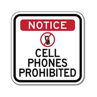 Cell Phones Prohibited Sign - 8x8 or 12x12 sizes available - Reflective Rust-Free Aluminum No Cell Phones Allowed Signs