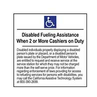 Disabled Fueling Assistance Available When 2 Or More Cashiers on Duty - 6x6- Package of 3 Labels or Window Decals