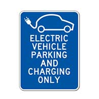 Electric Vehicle Parking And Charging Only Sign - 18x24 - Reflective Rust-Free Heavy Gauge Aluminum Electric Vehicle Parking Lot Signs