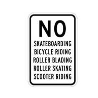 No Skateboarding Bicycle Riding Roller Blading Roller Skating Scooter Riding Sign - 12x18 - Reflective heavy-gauge rust-free No Skateboarding Signs