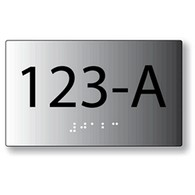 Custom ADA Brushed Aluminum Room Number Signs with Tactile Text and Grade 2 Braille - Up to 5 letters or numbers or spaces