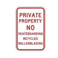 Private Property No Skateboarding Bicycles Rollerblading Sign - 12x18 - Reflective Rust-Free Heavy Gauge Aluminum No Skateboarding Signs