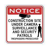 Construction Site Under Video Surveillance and Security Patrols Sign - Reflective Rust-Free Heavy Gauge Aluminum Video Security Signs - Anti-Graffiti and Weather Protection Film inlcuded