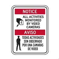 Bilingual Notice All Activities Monitored By Video Camera Window Decal or Label - 6x8. (Package of 3)