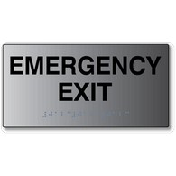 ADA Signs - Emergency Exit Sign with Tactile Text and Grade 2 Braille - 8x4 - Brushed Aluminum is an attractive alternative to plastic ADA signs