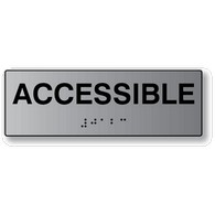 ADA Signs: Acceissible Sign with Tactile (raised) Text and Grade 2 Braille - 6x2.  Brushed Aluminum ADA Signs offer an attractive alternative to plastic ADA signs.