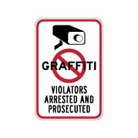 No Graffiti Symbol with Security Camera Violators Arrested and Prosecuted Sign - 12x18 or 18x24 size - These Anti-Graffiti Surveillance Signs are made of Reflective Rust-Free Heavy Gauge Aluminum and Protected with 3M Anti-Graffiti laminate at no extra charge