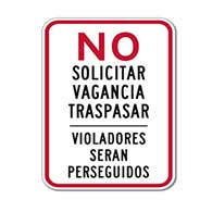 NO Solicitar Vagancia Traspasar Violadores Seran Perseguidos Sign 12x18 Reflective rust-free aluminum bilingual and Spanish No Trespassing signage