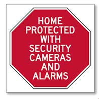 This Home/Business/Property Protected With Security Cameras And Alarms - 6x6 Window Decal or Label - Package of 3