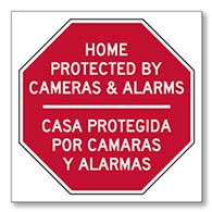 Window Decal or Label -Bilingual Home / Business / Property Protected With Cameras And Alarms (Package of 3)