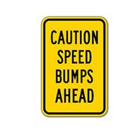 Choose the Colors you Want for this Caution Speed Bumps Ahead Sign - 12X18 - A reflective rust-free and heavy-gauge aluminum road and traffic sign