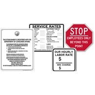 Service Station Sign Kit includes B.A.R. Sign, Service Rates, Hourly Rate and Employees Only Signs