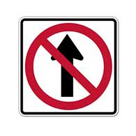 R3-27 No Straight Through Symbol Sign - 18x18 - Official MUTCD Reflective Rust-Free Heavy Gauge R3-27 No Straight Through Sign