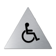 ADA Mens Restroom Door Sign with Wheelchair Symbol - 12x12 - Brushed aluminum is an attractive alternative to plastic ADA signs