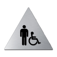ADA Mens Restroom Door Sign with Male and Wheelchair Symbols - 12x12 - Brushed aluminum is an attractive alternative to plastic ADA signs