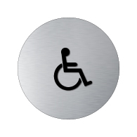 ADA Wheelchair Symbol Womens Restroom Round Door Sign - 12x12 - Brushed Aluminum