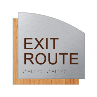 ADA Exit Route Sign - Brushed Aluminum and Wood Laminates with Tactile Text and Braille