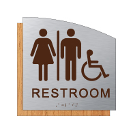 ADA Unisex Wheelchair Accessible Restroom Wall Sign - Designer Brushed Aluminum and Wood Laminates with Tactile Text & Braille