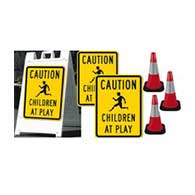 Kit Includes (1) Two-sided A-Frame Sign Holder (2) 18x24 Children At Play Signs and (3) Reflective 18-Inch Tall Traffic Safety Cones with Reflective Collars