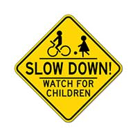 Slow Down Children Palying Road Sign - 18X18 - Official Reflective Rust-Free Heavy Gauge Aluminum Children At Play Signs