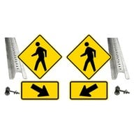 Pedestrian Crosswalk Kit includes (2) MUTCD Compliant 24x24 Reflective Pedestrian Crossing Warning Signs, (2) MUTCD Compliant Reflective Right and Left Arrow Signs, (2) 8-Foot Heavt-Gauge Galvanized U-Channel Sign Posts (4) Pairs Sign Mounting Hardware