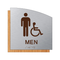Male ADA Wheelchair   Accessible Restroom Wall Sign in  Brushed Aluminum and Wood Laminates