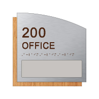 Custom Room Number & Name Sign with Name Slot - 8.5x8.5 - Brushed Aluminum & Wood Laminates