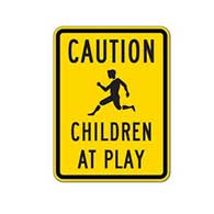 Caution Children At Play Signs - 18X24 - Official Reflective Rust-Free Heavy Gauge Aluminum Children At Play Signs