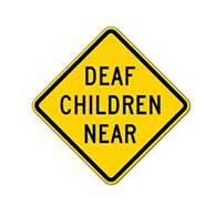 Deaf Children Near Warning Sign - 18x18 - Official California Code SW38 Deaf Children Near Sign (used in many states) - Made of Reflective Rust-Free Heavy Gauge Aluminum by STOP Signs And More