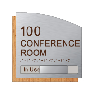 Custom Conference Room Number and Name Sign with In-Use Slide - 8.5 x 8.5 - Brushed Aluminum and Wood Laminates