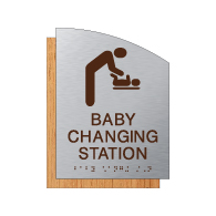 ADA Baby Changing Station Restroom Sign - Brushed Aluminum & Wood Laminates | Tactile Text & Braille