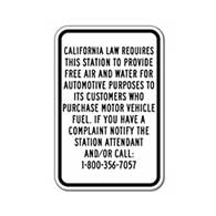 California Free Air and Water Sign for Gas Stations - 12x18 - Durable aluminum signs for gas stations from STOP Signs And More