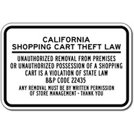 California Shopping Cart Theft Law Sign - 18x12 - Reflective Rust-Free Durable Aluminum Shopping Center Signs