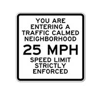 Traffic Calmed Neighborhood Speed Limit Sign - 30x30