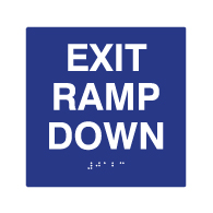 ADA Compliant Exit Ramp Down Sign with Text and Braille - 6x6