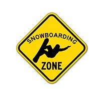 Snowboarding Zone Sign - 12x12 or 18x18 sizes - Authentic Road Sign - Reflective Rust-Free Heavy Gauge Aluminum