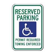 Official Arkansas Reserved Parking Handicap Plate Or Permit Only Sign - 12X18 - Rust-free heavy gauge (.063) reflective aluminum Arkansas Handicapped Parking Signs