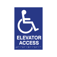 ADA Compliant Elevator Access Signs with Tactile Text and Grade 2 Braille - 6x9