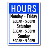 Business Hours Window Decal or Wall Label