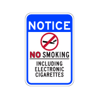 No Smoking Including Electronic Cigarettes Sign - 12x18 - Non-reflective
