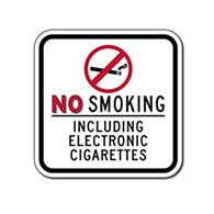 No Smoking Including Electronic Cigarettes Sign - 12x12 - Non-reflective
