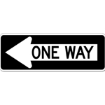 B-Stock: R6-1L One Way Left Arrow Signs - 36X12