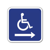B-Stock: ADA Wheelchair Accessible Symbol Signs - Right Arrow - 12x12