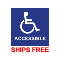 Window Decal - Wheelchair Symbol (ISA) and text Accessible - 6x6 (Package of 3)