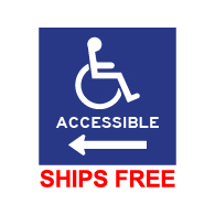 Window Decal - International Symbol of Accessibility (ISA) and text ACCESSIBLE with Left Arrow - 6x6