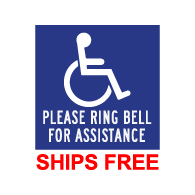 ADA Please Ring Bell For Assistance Wall Labels - 9x9