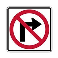 Reflective R3-1 No Left Turn Symbol Signs -18x18 - Official MUTCD Reflective Rust-Free Heavy Gauge Aluminum Road Signs